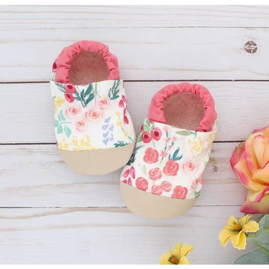 Cotton Non Skid Infant and Toddler Scooter Booties - Spring Floral