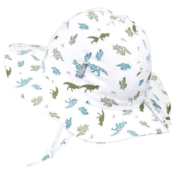 Grow-With-Me 50+ UPF Baby and Toddler Adjustable Cotton Bucket Sun Hat | Dino