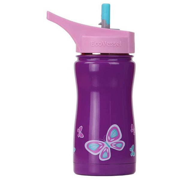 Insulated kids purple water bottle with butterfly design at the bottom | saplingshop