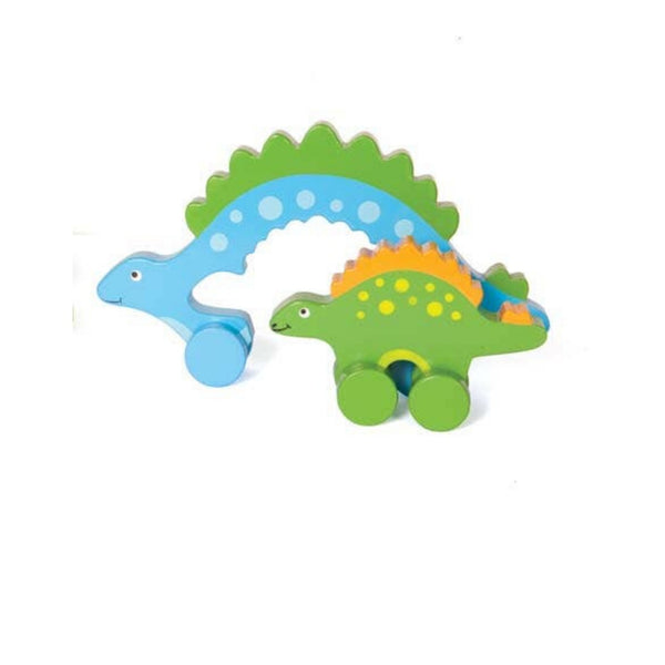 Mommy and Baby Wooden Push Toy | Stegosaurus