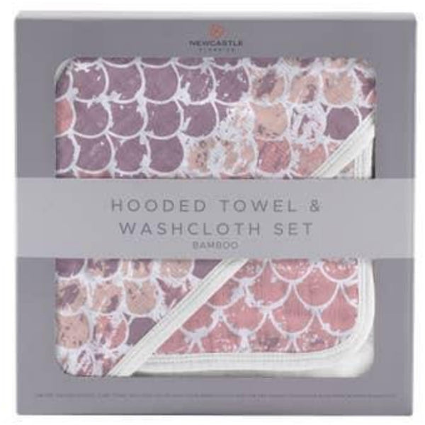 Deluxe Cotton and Muslin Hooded Towel Set | Mermaid Scales