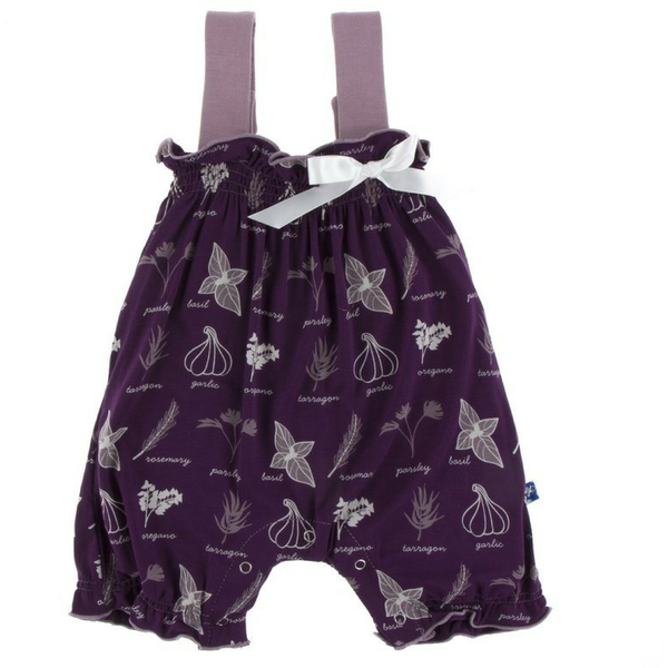 Kickee Pants Gathered Romper with Bow: Wine Grapes Herbs