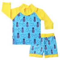 uv protection swimwear set with pineapples for kids
