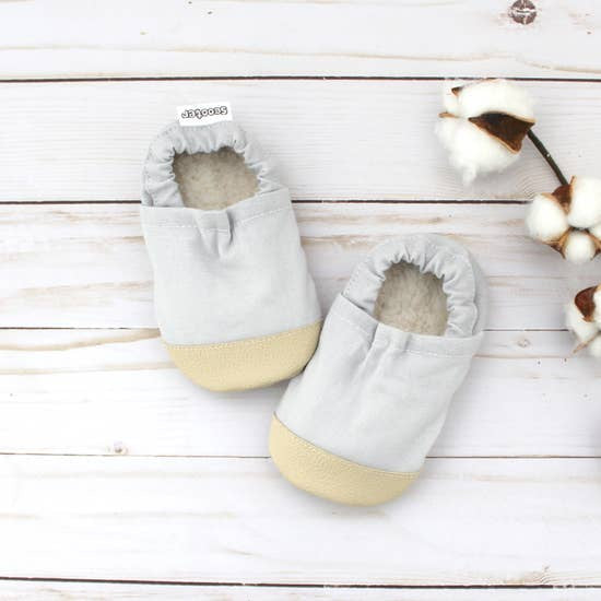 Cotton Non Skid Infant and Toddler Scooter Booties | Pewter Linen