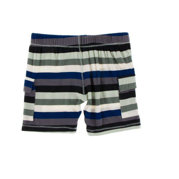 Kickee Pants Solid Cargo Short | Zoology Stripe