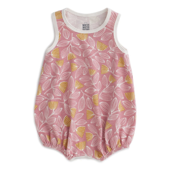 Winter Water Factory Cotton Bubble Romper | Holland Floral Pink & Yellow