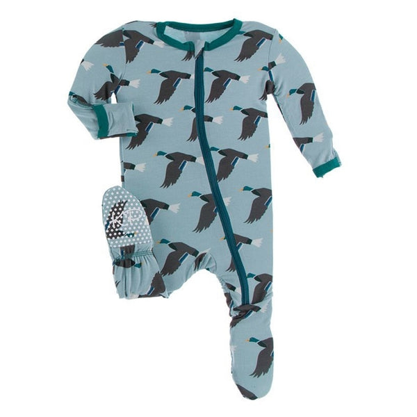 KicKee Pants Bamboo Footie with Zipper | Jade Mallard Duck