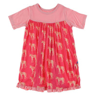Kickee Pants Short Sleeve Swing Dress | Red Ginger Unicorns