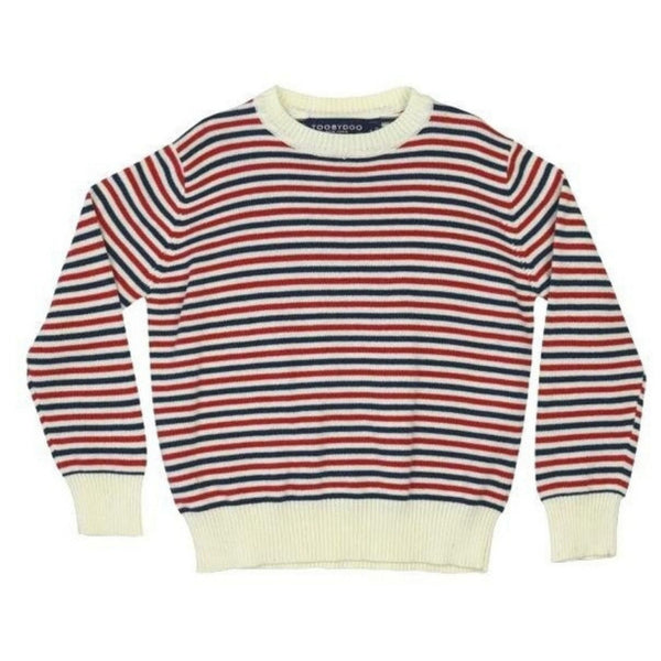 Cotton Knit Crew Sweater | Red, Cream and Navy