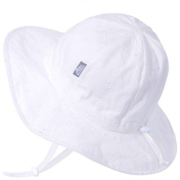 Gro-With-Me 50+ UPF Baby/Toddler Cotton Floppy Sun Hat | White Eyelet