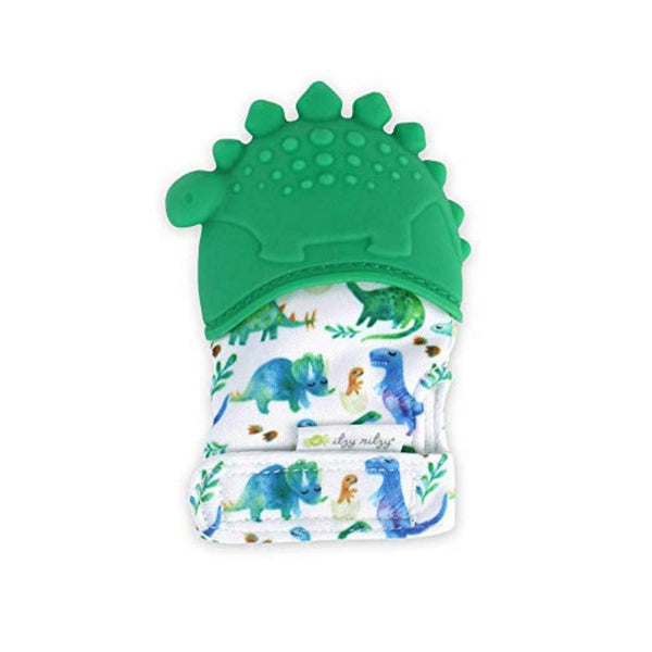 Itzy Ritzy Mitzies Teething Happens Baby Teething Mitt | Dinosaur