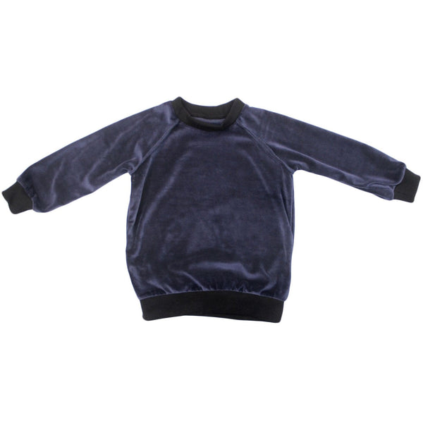 navy velour sweatshirt with black accents