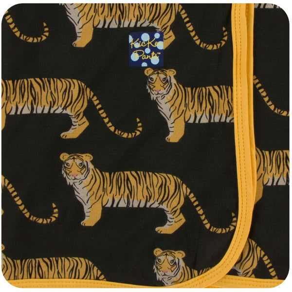 black bamboo swaddle blanket with tiger print | saplingshop