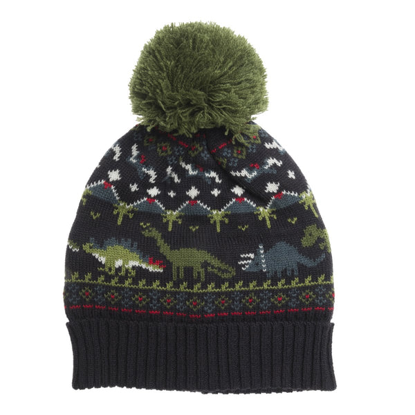 Knit Hat with  Fleece Lining | Dinosaur