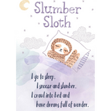 Slumber Sloth sturdy cardboard keepsake with a picture of a sleeping sloth and a poem about sleeping | SaplingShop