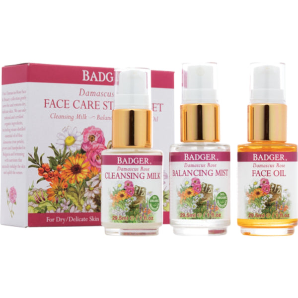Badger Damascus Rose Face Care Starter Set