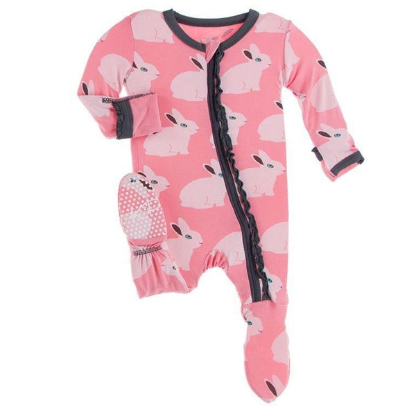 Kickee Pants Bamboo Muffin Ruffle Footie with Zipper | Strawberry Forest Rabbit