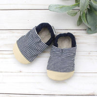 Cotton Non Skid Infant and Toddler Scooter Booties | Railroad Stripes