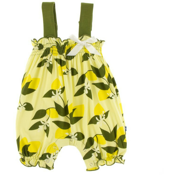 Kickee Pants Gathered Romper with Bow: Lime Blossom Lemon Tree
