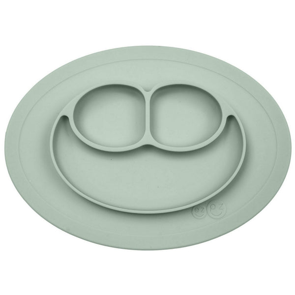 cute silicone suction plate for babies and kids in sage green