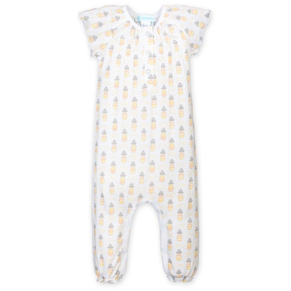 Feather Baby Cotton Ruched Romper | Pineapples
