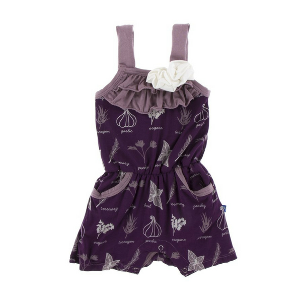 Kickee Pants Flower Romper with Pockets: Wine Grapes Herbs