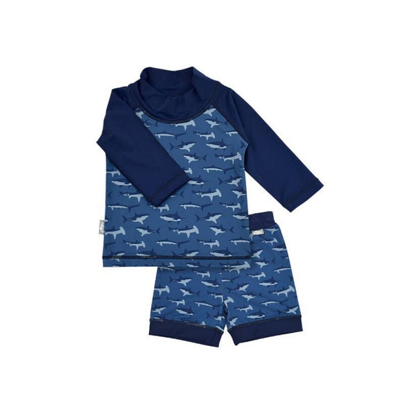 Swimwear UV Shirt & Shorts Set for Kids | Navy Shark