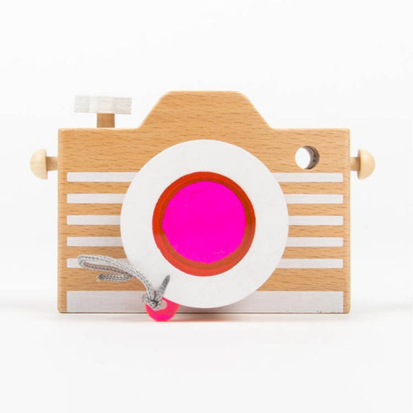 Wooden Kaleidoscope Play Camera | Pink