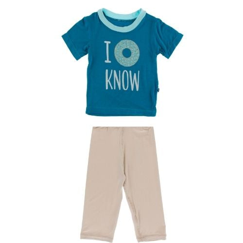 Kickee Pants Graphic Tee and Pants Set | Blue I Donut Know