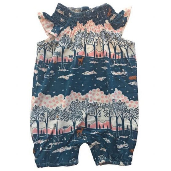 Bird & Bean Smocked Coverall | Vintage Forrest
