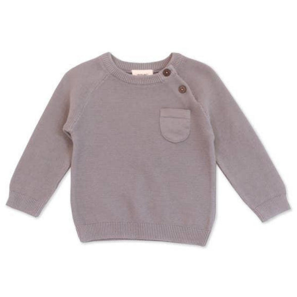 Organic Cotton Sweater Knit Pullover Raglan | Grey
