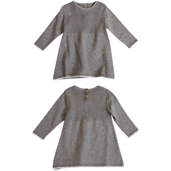 Organic Cotton A-Line Long Sleeve Sweater Knit Baby Dress | Heather Grey