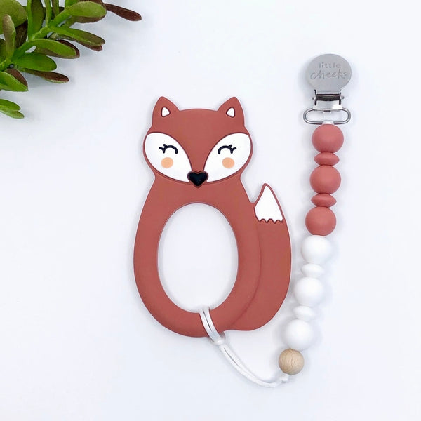 Silicone Teether with Clip | Fox and Bear
