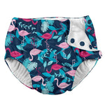 Resusable snap swim diaper with blue fabric and flamingo print with green leaves | saplingshop