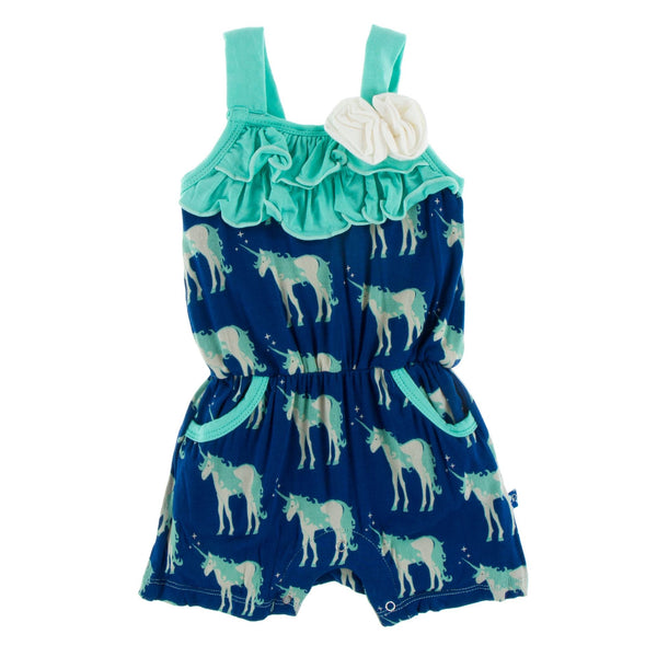 Kickee Pants Flower Romper with Pockets| Flag Blue Unicorns