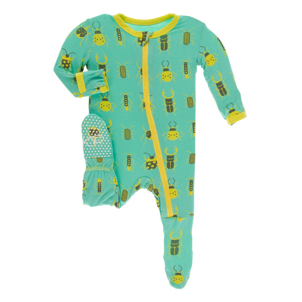 Kickee Pants Bamboo Footie with Zipper | Glass Beetles