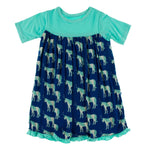 Kickee Pants Short Sleeve Swing Dress | Flag Blue Unicorns