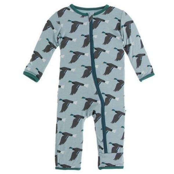 Kickee Pants Bamboo Coverall with Zipper | Jade Mallard Duck