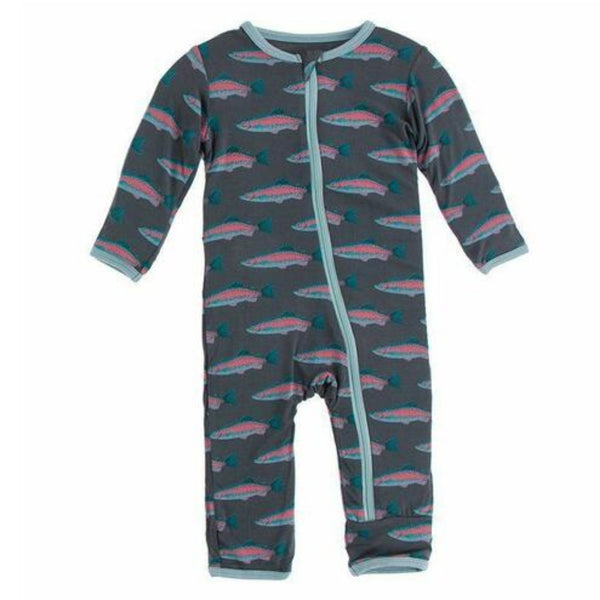 Kickee Pants Bamboo Coverall with Zipper | Stone Rainbow Trout