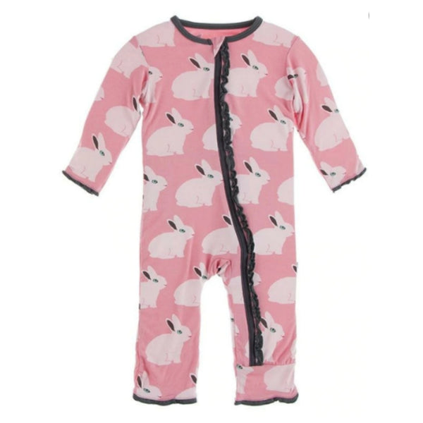 Kickee Pants Bamboo Muffin Ruffle Coverall with Zipper | Strawberry Forest Rabbit