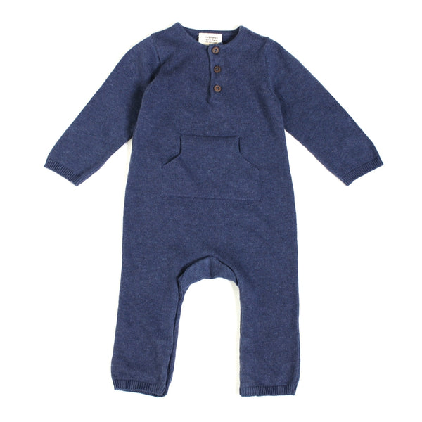 Organic Cotton Knit Kangaroo Coverall Romper | Charcoal and Indigo