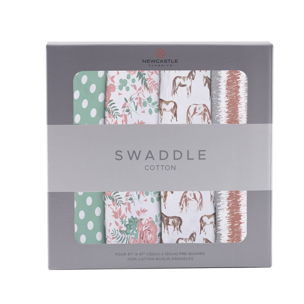 Premium Muslin Cotton 4-Pack Swaddle | Horses + Roses