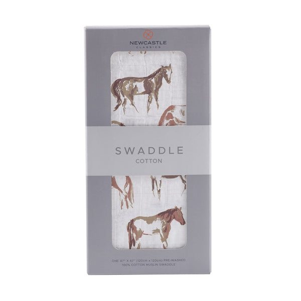 Premium Muslin Cotton Single Swaddle | Wild Horses
