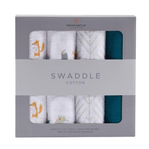 Premium Muslin Cotton 4-Pack Swaddle | Forest Friends