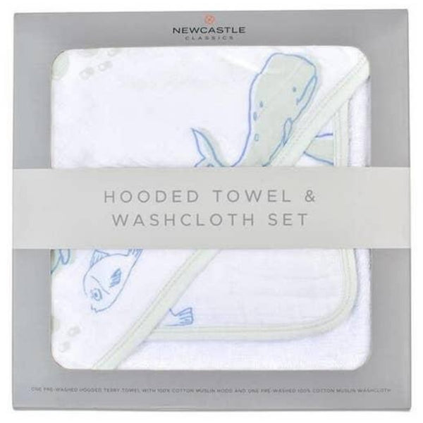 Deluxe Cotton and Muslin Hooded Towel Set | Whale