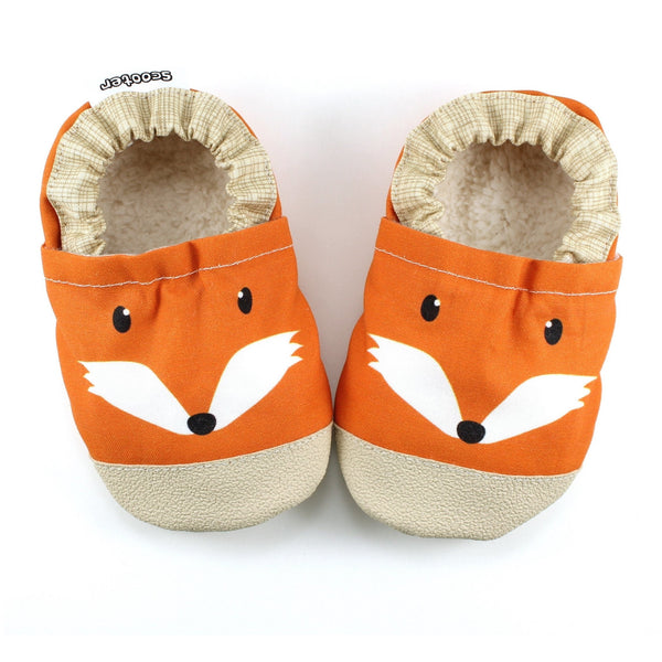 Cotton Non Skid Infant and Toddler Scooter Booties - Clever Fox