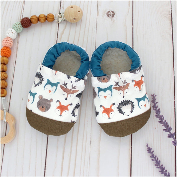 Cotton Non Skid Infant and Toddler Scooter Booties | Forest Faces