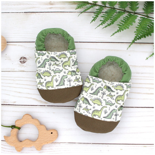 Cotton Non Skid Infant and Toddler Scooter Booties | Dinosaur