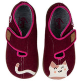 Maroon wool felt shoes one with a car tail and one with a cat head
