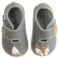 gray felt wool shoes with a tail on one and the fox face on right shoe